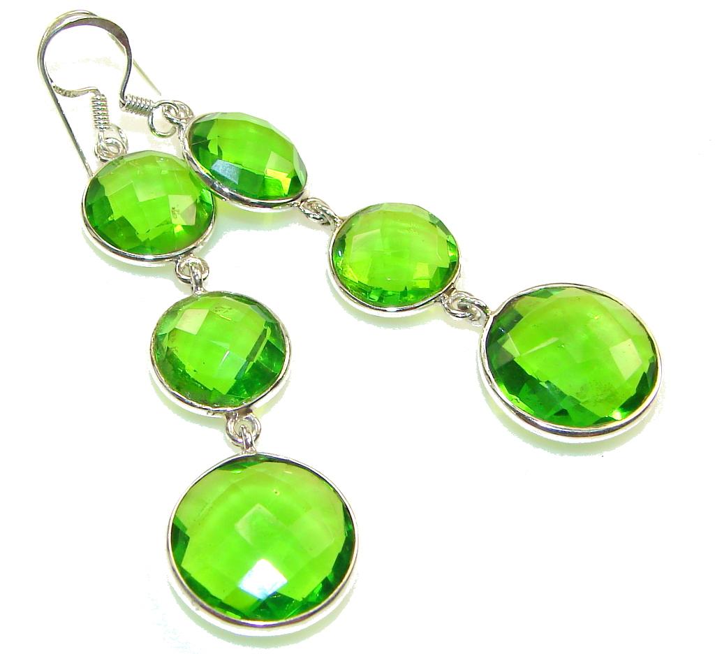 Green Island!! Green Quartz Sterling Silver earrings / Long