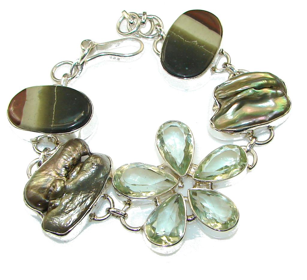 Precious Design!! Green Amethyst Sterling Silver Bracelet