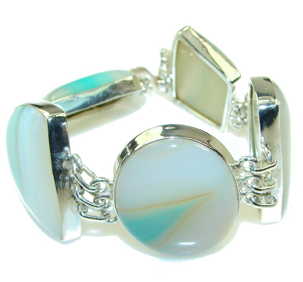 Path Of Life!! Botswana Agate Sterling Silver Bracelet
