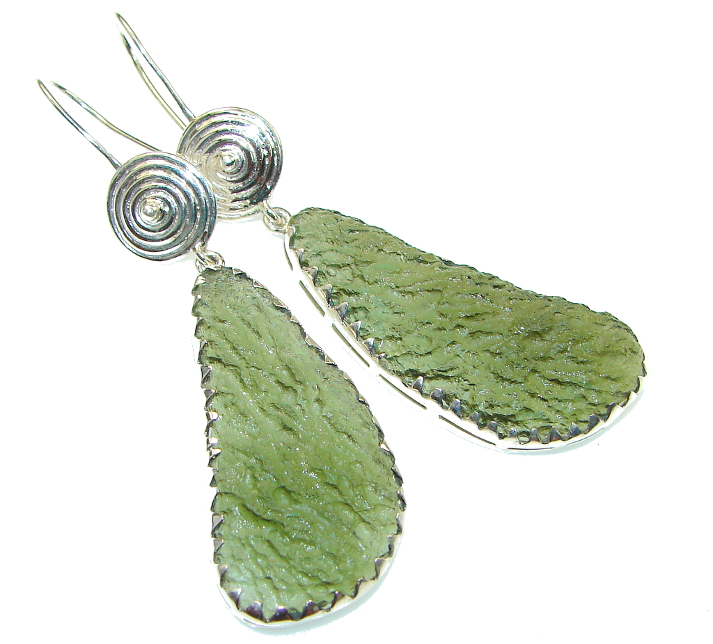 Excellent Green Moldavite Silver Sterling earrings / Long