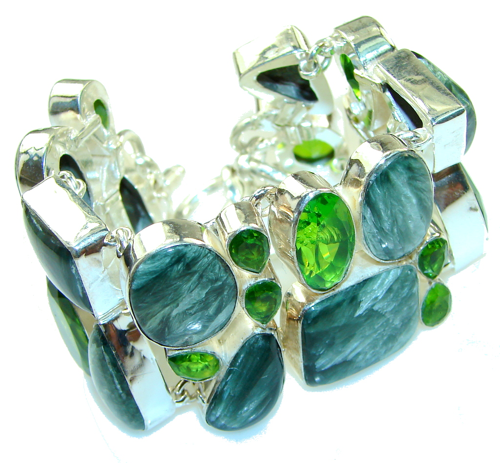 Awesome Design!! Russian Seraphinite Sterling Silver Bracelet