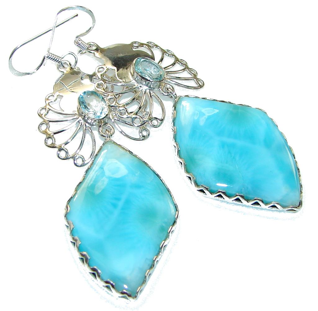 Beautiful Light Blue Larimar Sterling Silver earrings