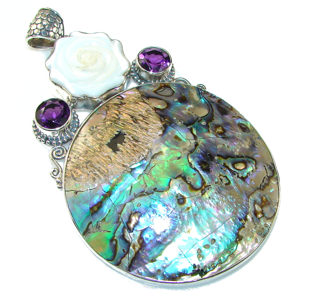Giant!! Beautiful Rainbow Abalone Sterling Silver Pendant