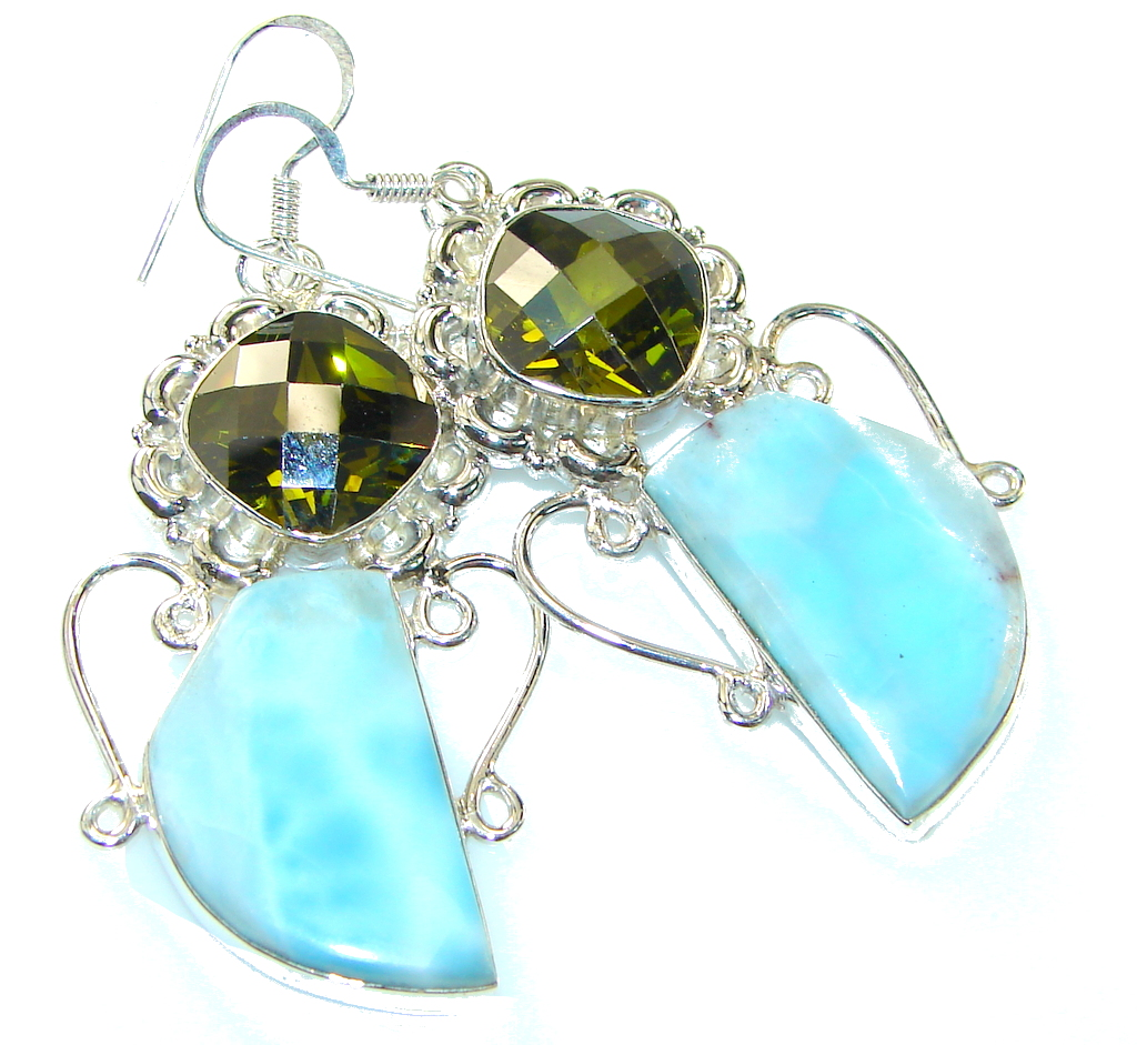 Awesome! Light Blue Larimar Sterling Silver earrings