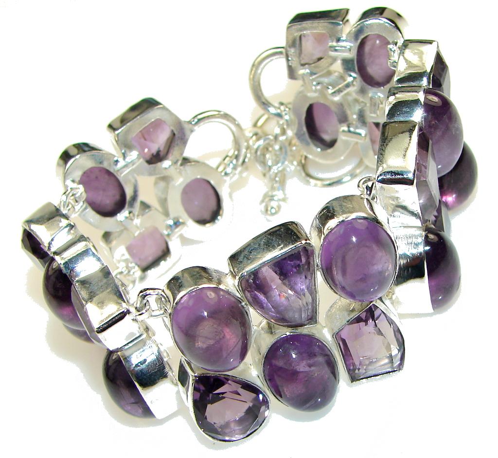 Natural Beauty!! Amethyst Sterling Silver Bracelet