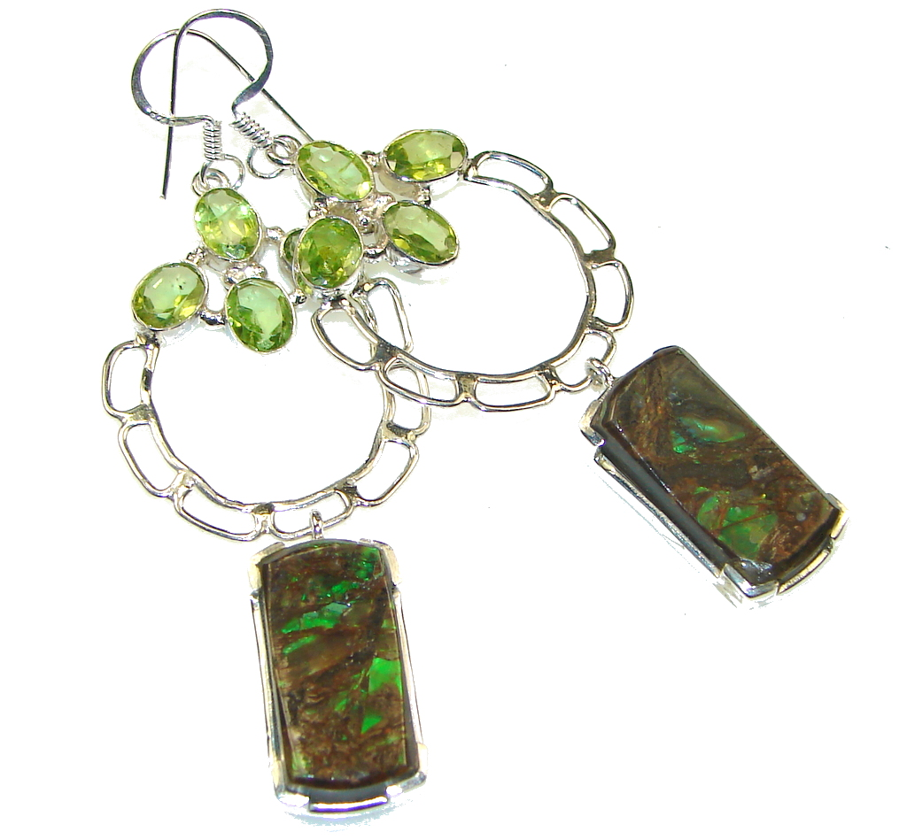 Gorgeous Style!! Green Ammolite Sterling Silver earrings / Long