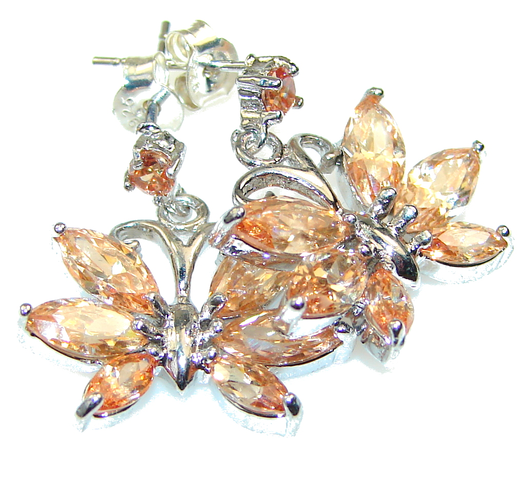Delicate! Light Golden Topaz Sterling Silver earrings