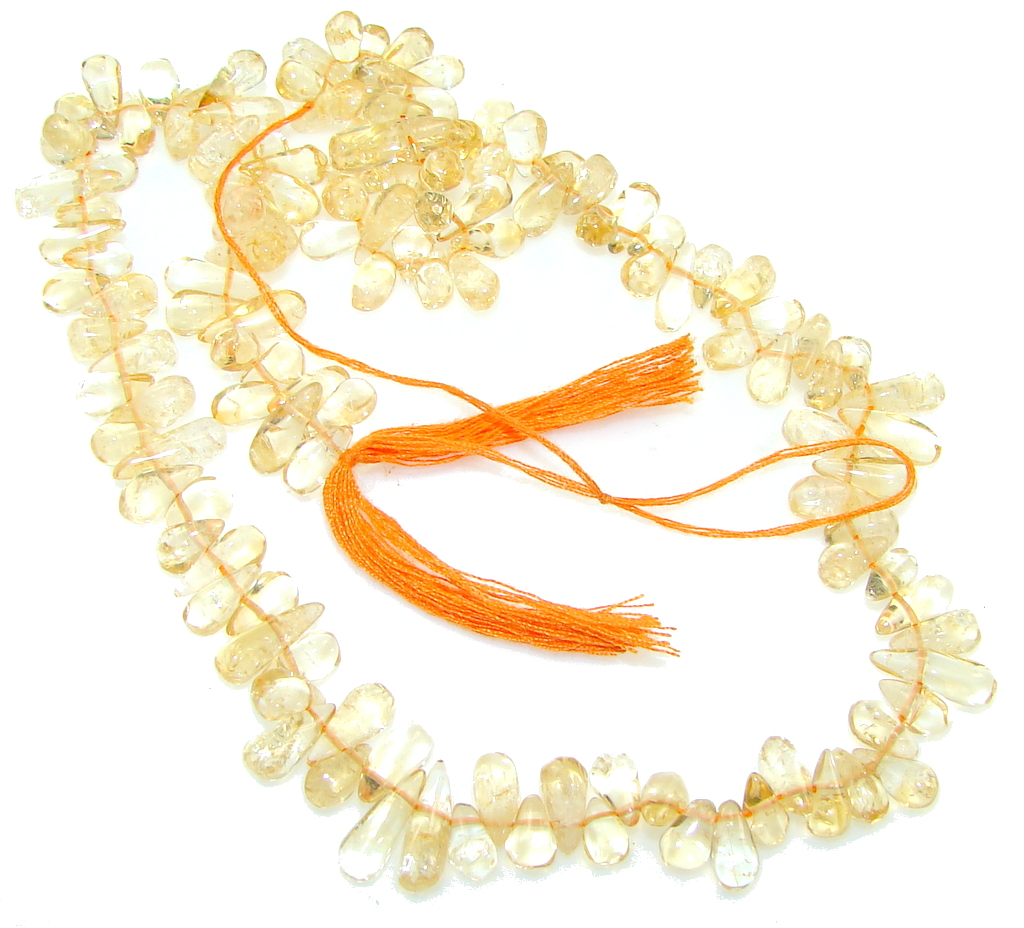 Natural Yallow Citrine Beads Strand Necklace