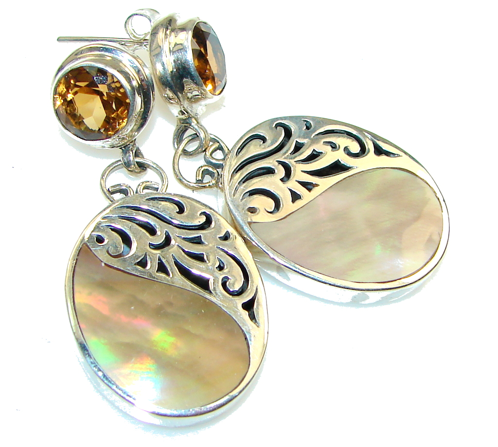Amazing!! Rainbow Abalone Shell Sterling Silver earrings