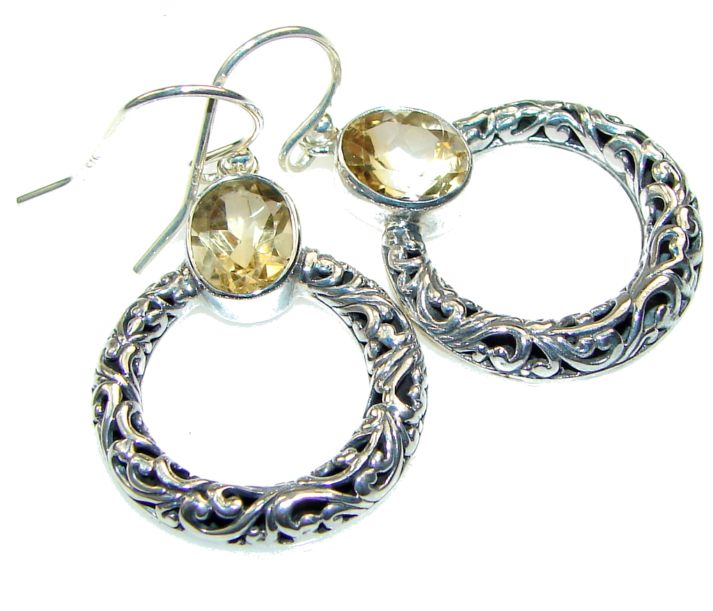 Delicate!! Yellow Citrine Sterling Silver earrings