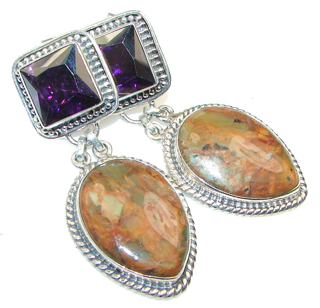 Evening Secret!! Montana Agate Sterling Silver earrings