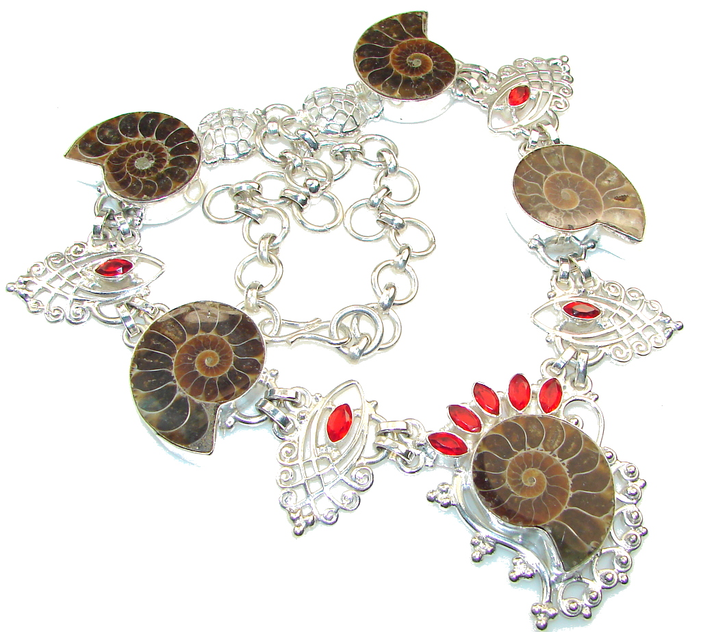 Awesome!! Ammonite Fossil Silver Overlay necklace