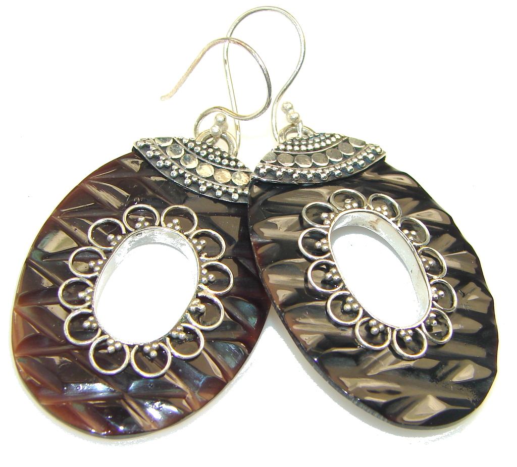 Fashion!! Brown Blister Pearl Sterling Silver earrings