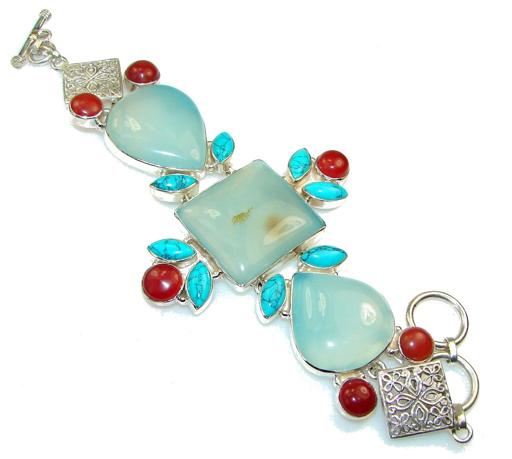 Special Moment!! Light Blue Agate Sterling Silver Bracelet