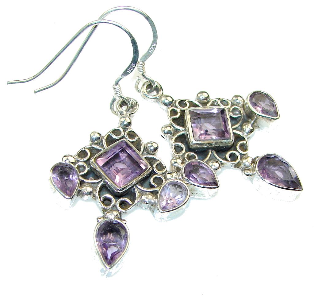 Gentle!! Purple Amethyst Sterling Silver earrings