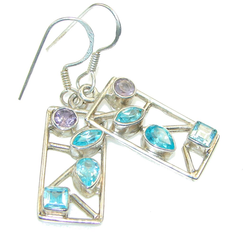 Delicate!! Swiss Blue Topaz Sterling Silver earrings