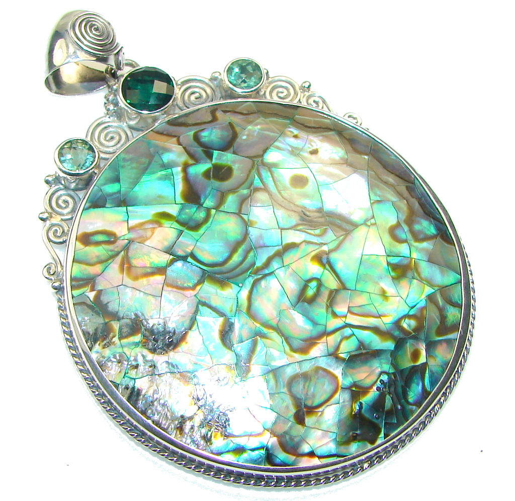 Big! Awesome Rainbow Abalone Sterling Silver Pendant