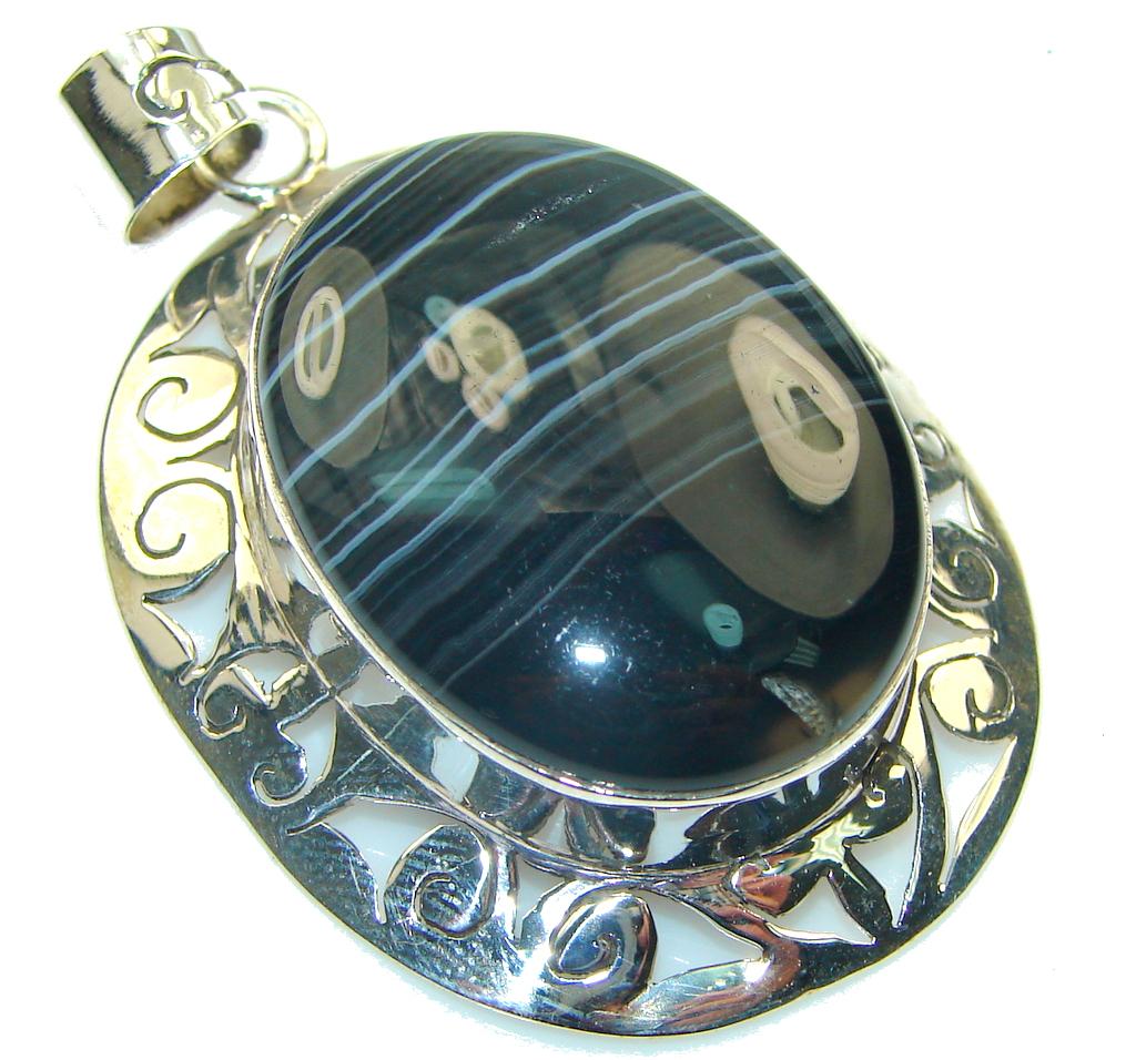 Amazing! Black Botswana Agate Sterling Silver Pendant