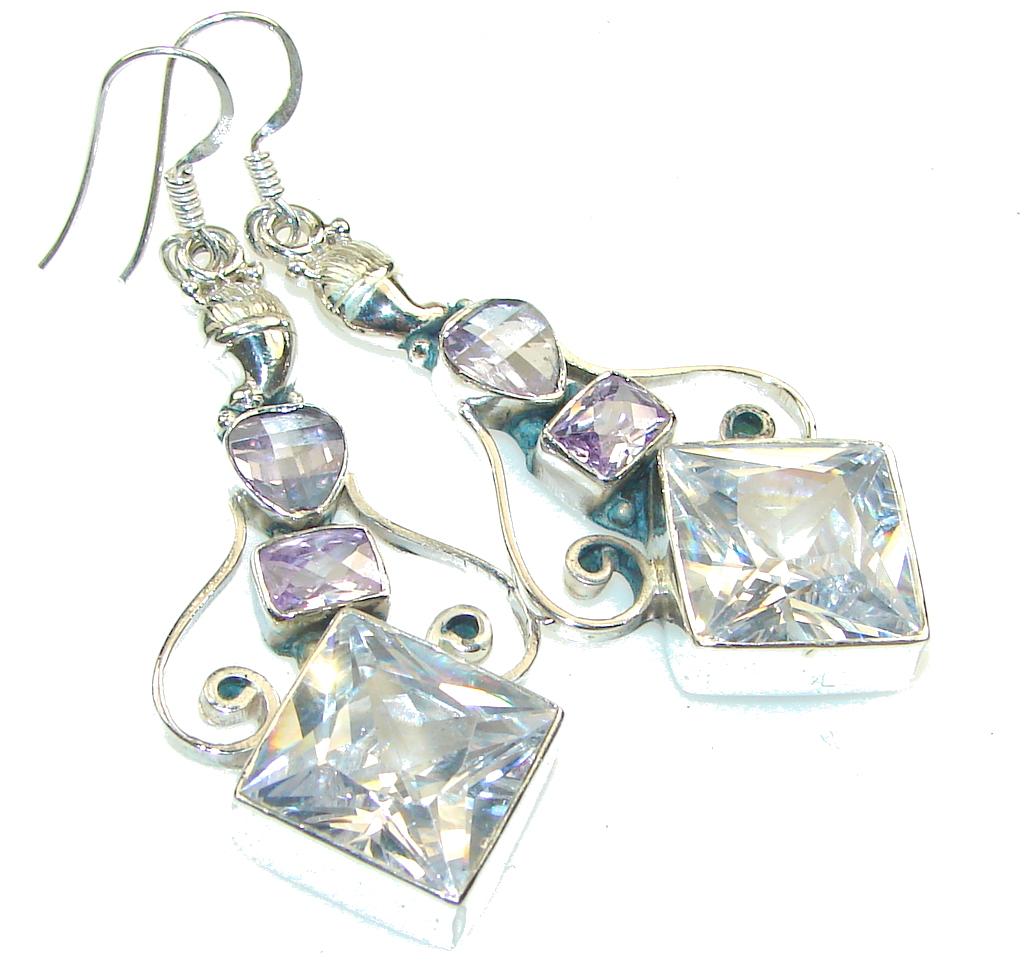 Big! Fabulous White Topaz Sterling Silver earrings
