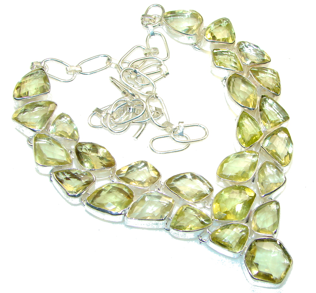 Chennai Sun! Yellow Citrine Sterling Silver Necklace