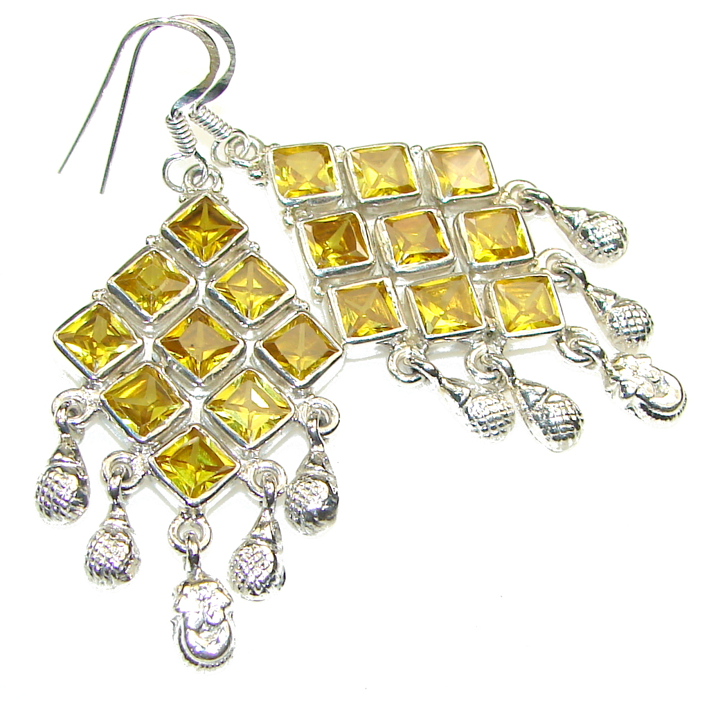 Excellent!! Yellow Citrine Quartz Silver Sterling earrings