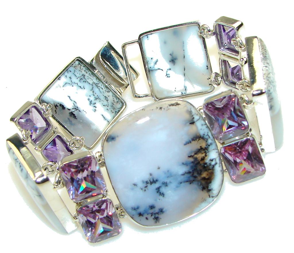 Special Secret! White Dendritic Agate Sterling Silver Bracelet
