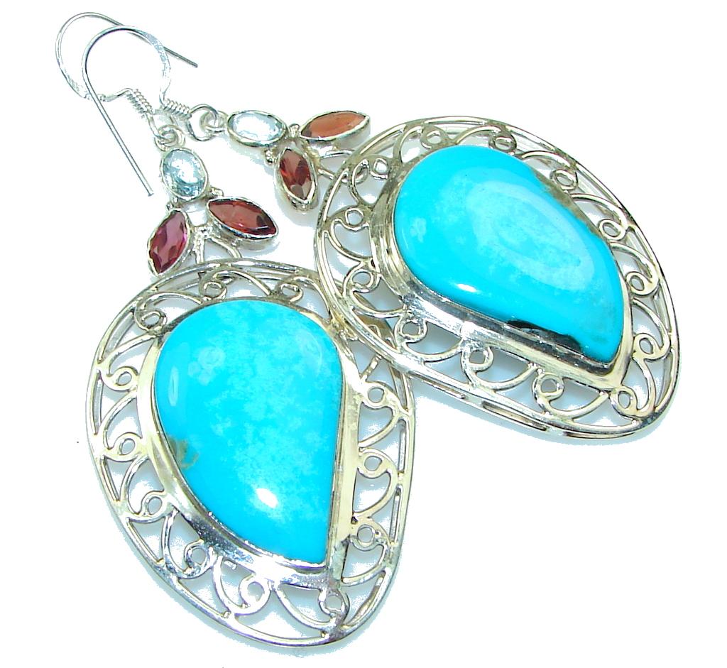 Big! Sleeping Beauty!! Blue Turquoise Sterling Silver earrings