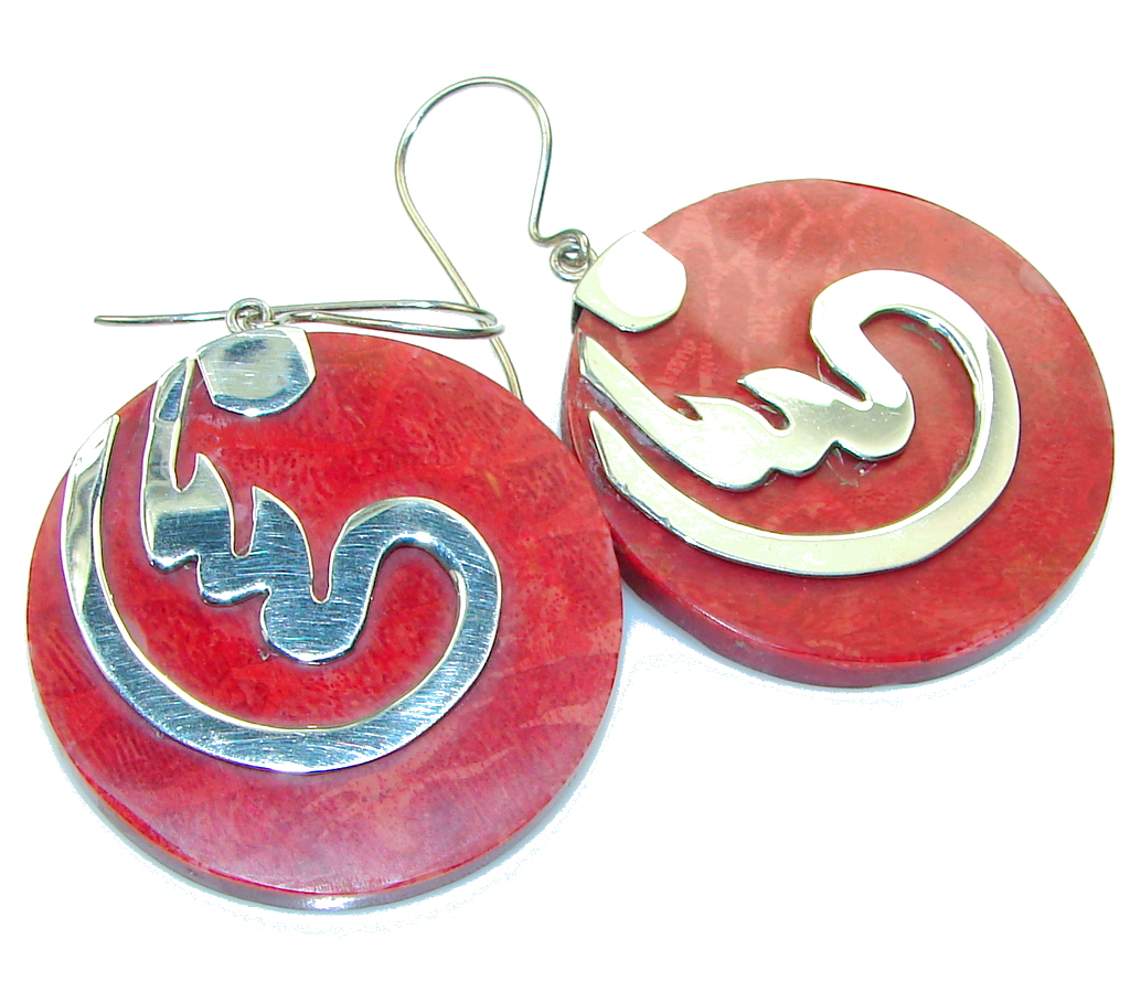 Big!! Stylish Red Fossilized Coral Sterling Silver earrings