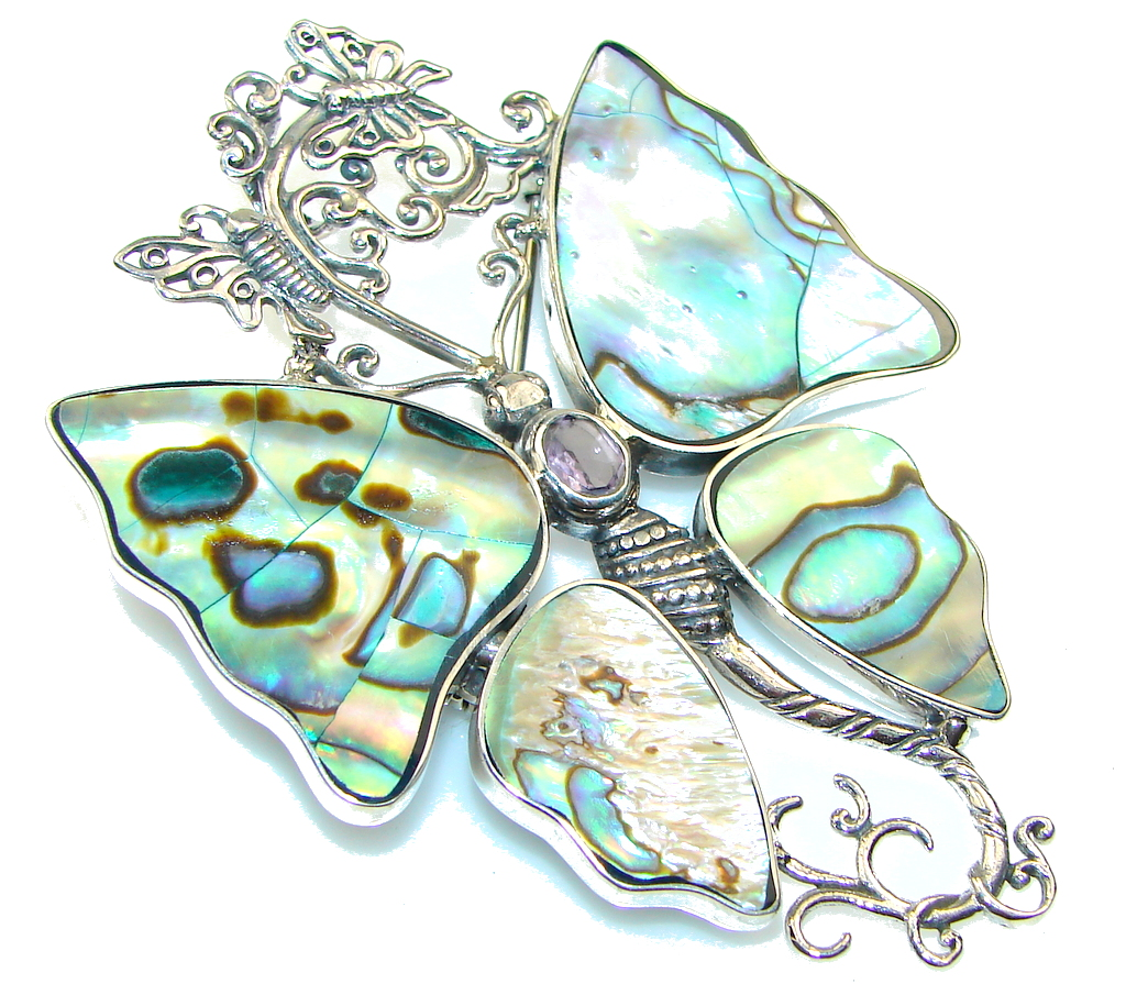 Big! Fashion Rainbow Abalone Sterling Silver Pendant / Brooch