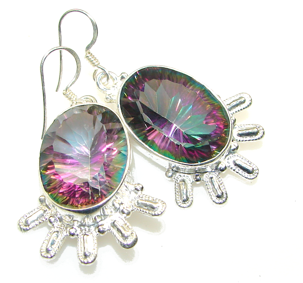 Big! Exotic Magic Topaz Sterling Silver earrings