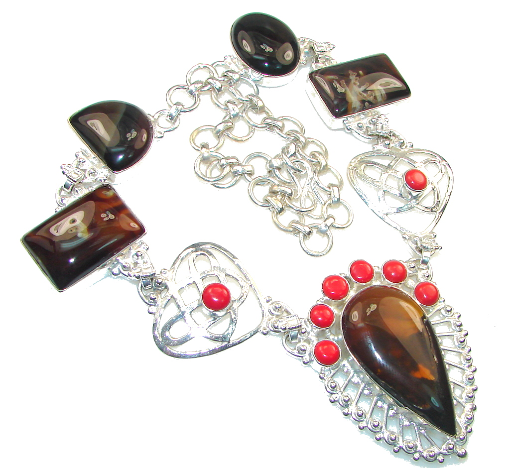 Fashion! Brown Agate Silver Overlay necklace