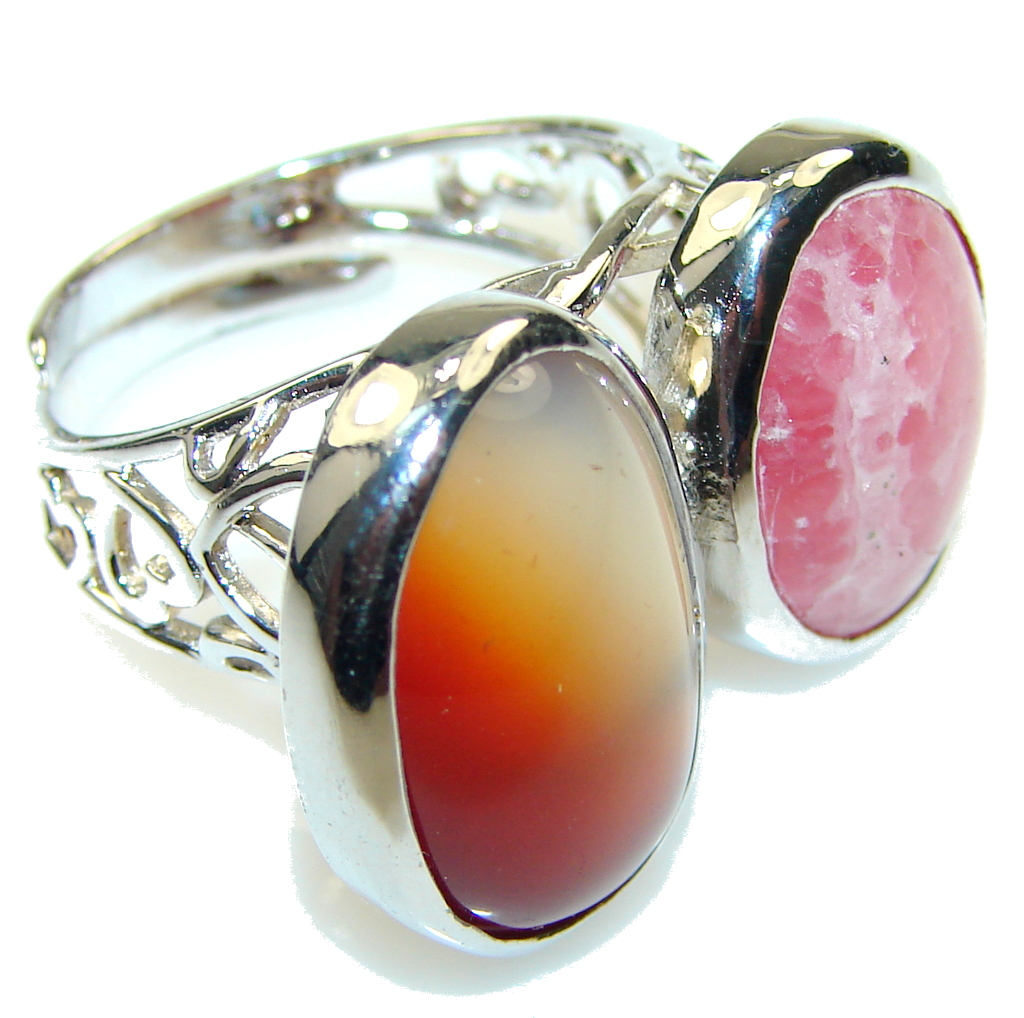Secret!! Rhodochrosite , Agate Sterling Silver ring s. 8 - Adjustable