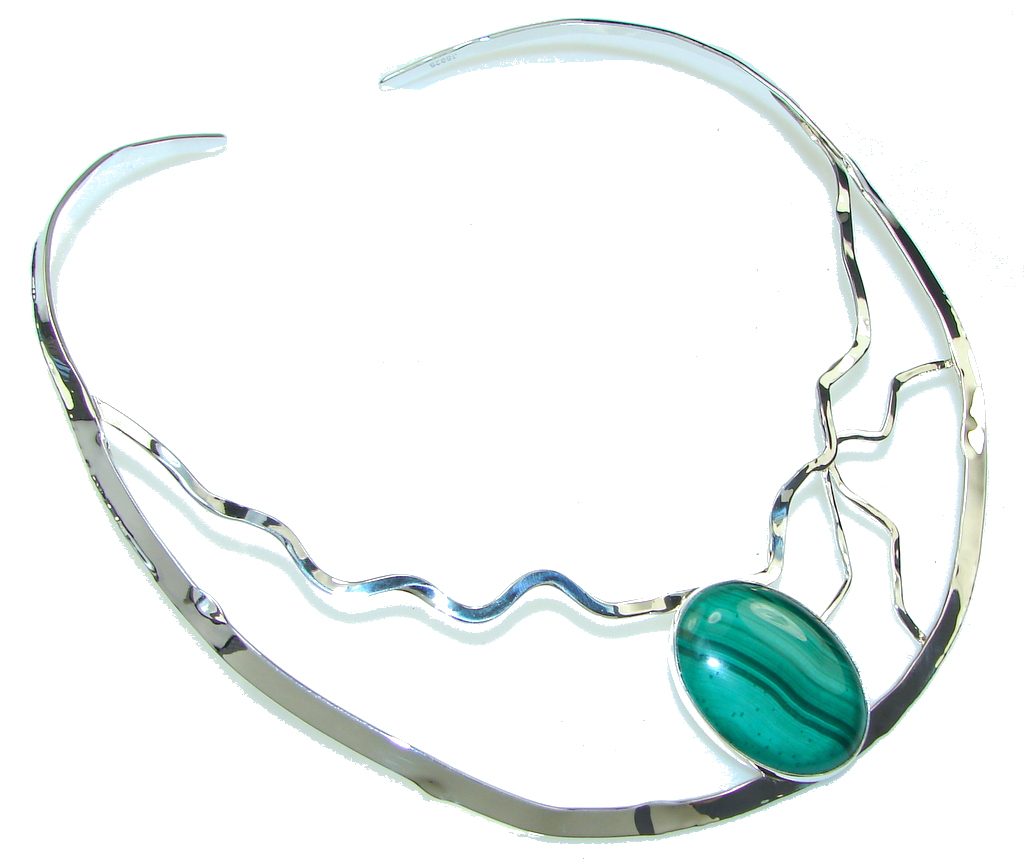 AAA Malachite Hammered Sterling Silver necklace / Choker