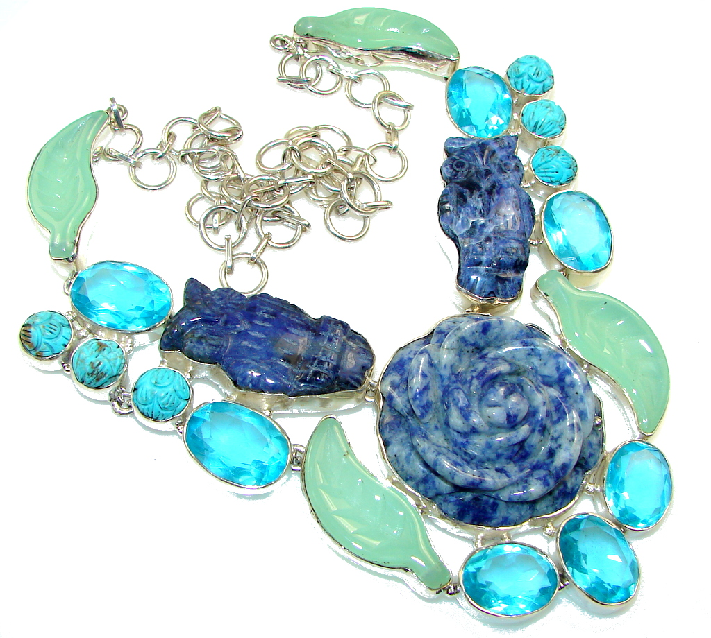 Aura Of Beauty!! Blue Sodalite Sterling Silver Necklace