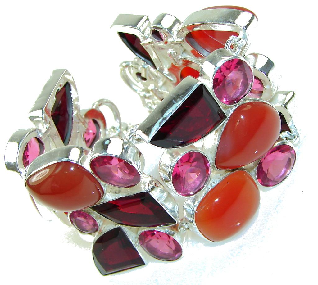 Aura Of Beauty!! Chunky Orange Carnelian Sterling Silver Bracelet