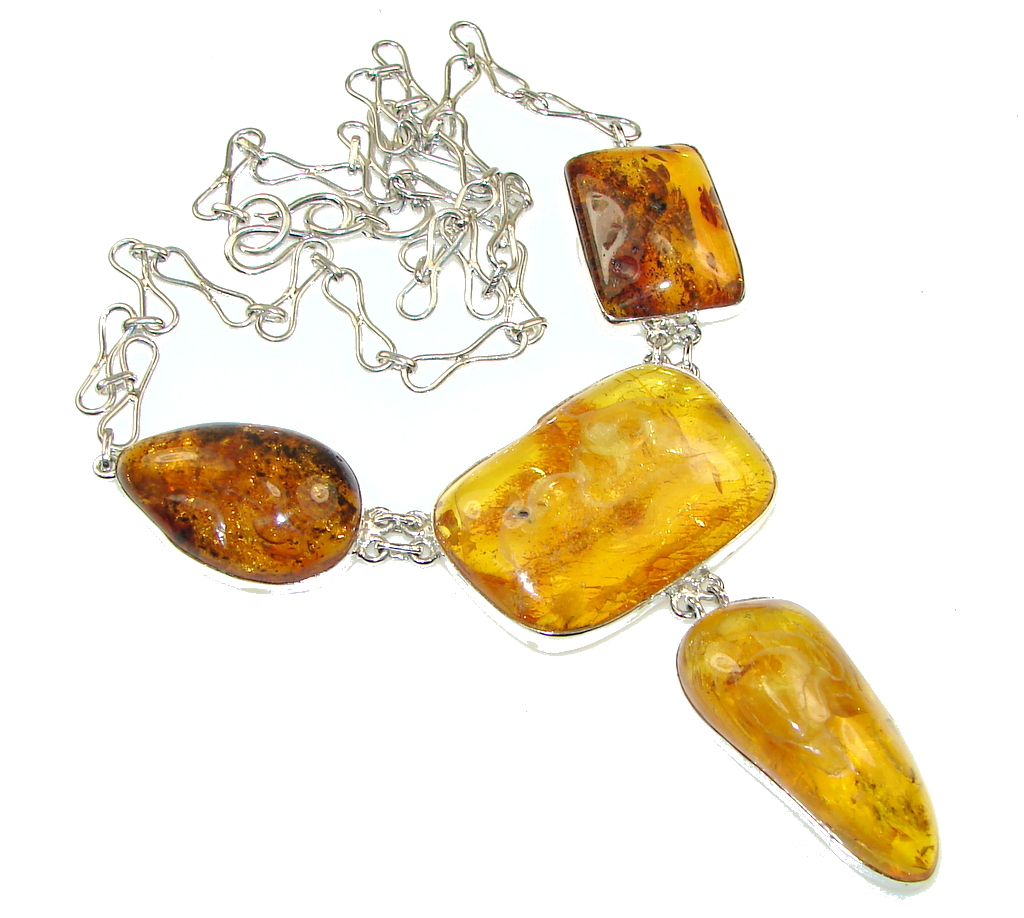 Fashion! Natural Polish Amber Sterling Silver necklace