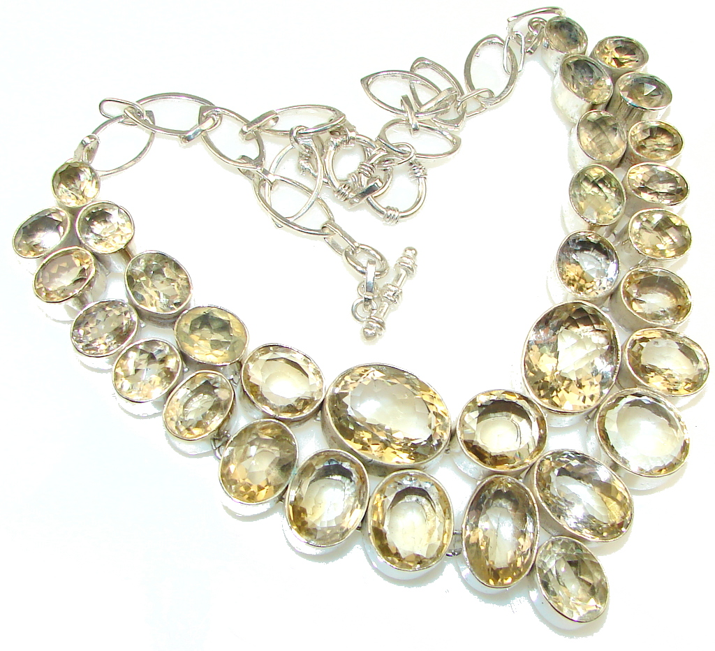 Trade Secret Natural Yellow Citrine Sterling Silver Necklace