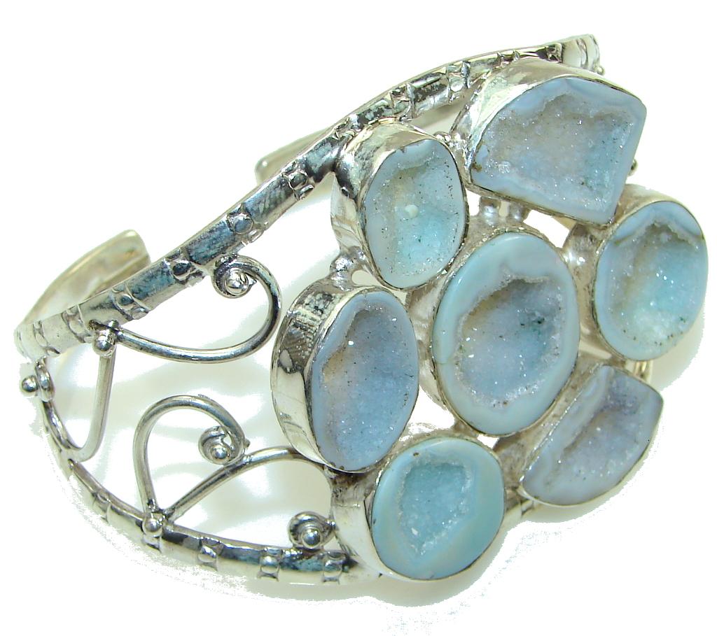 Secret! Modern Agate Druzy Sterling Silver Bracelet / Cuff