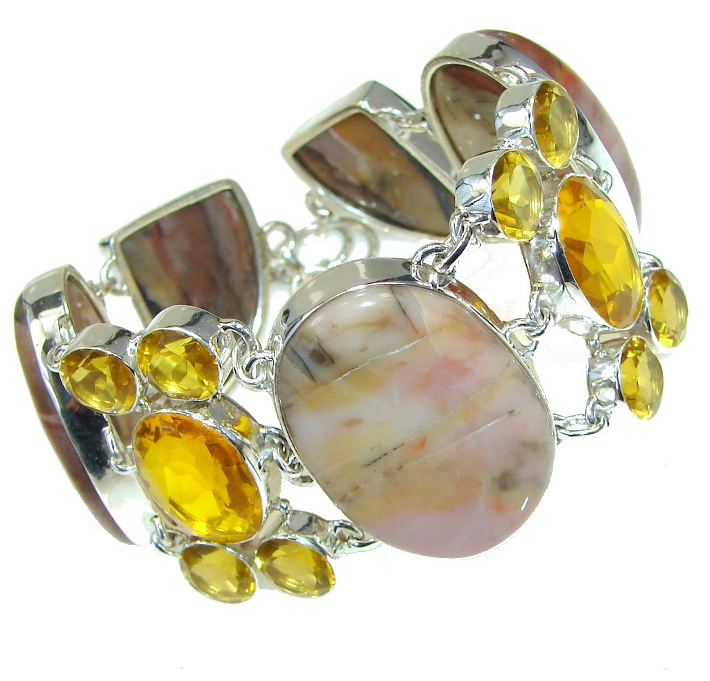 Pale Beauty! Montana Agate Sterling Silver Bracelet