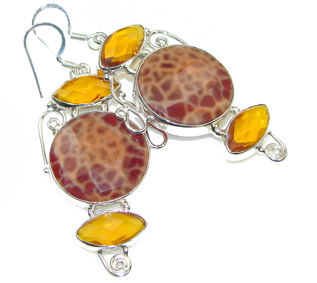 Excellent Orange Mexican Fire Agate Sterling Silver earrings
