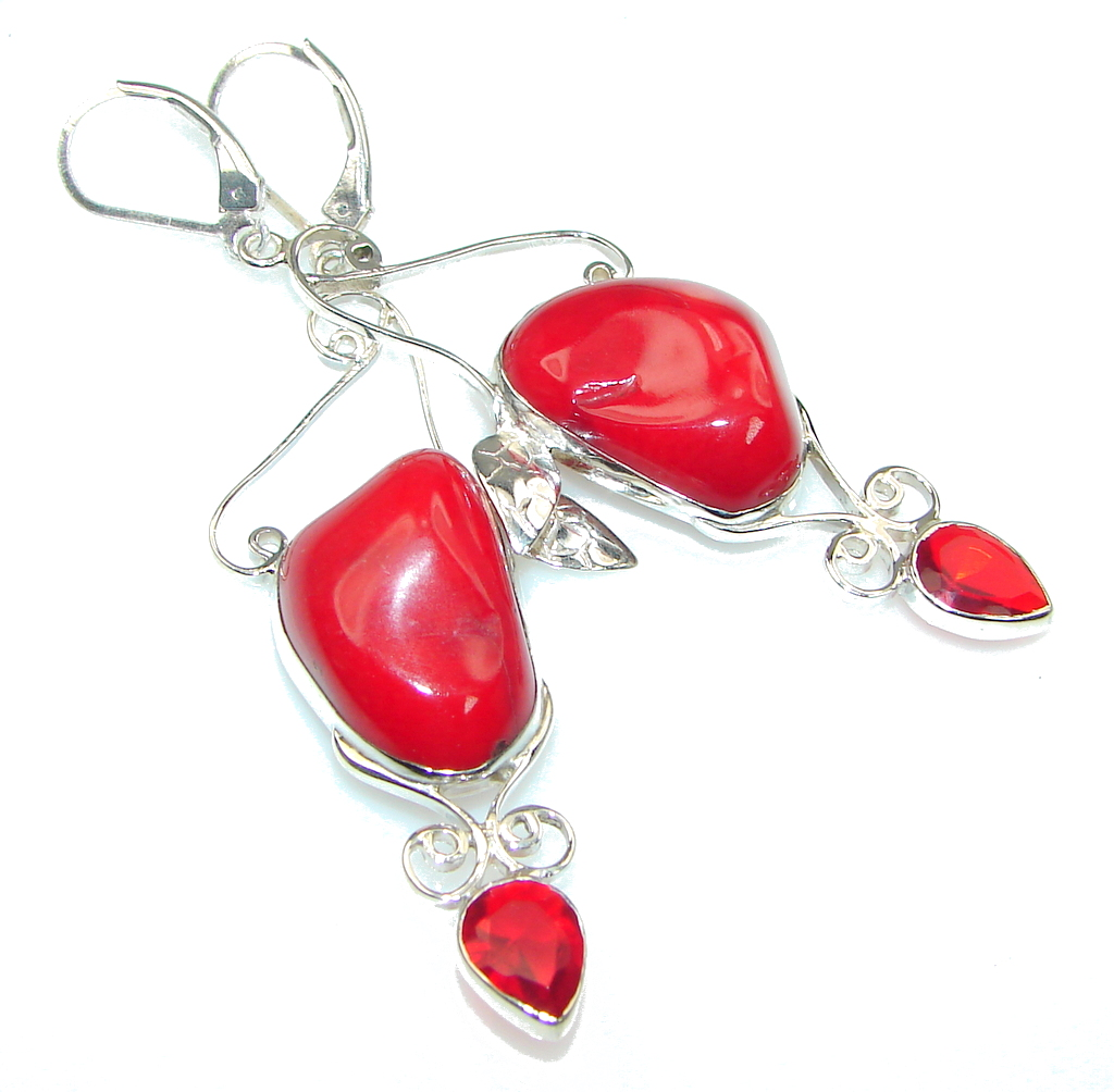 Big! The One! Red Fossilized Coral Sterling Silver earrings