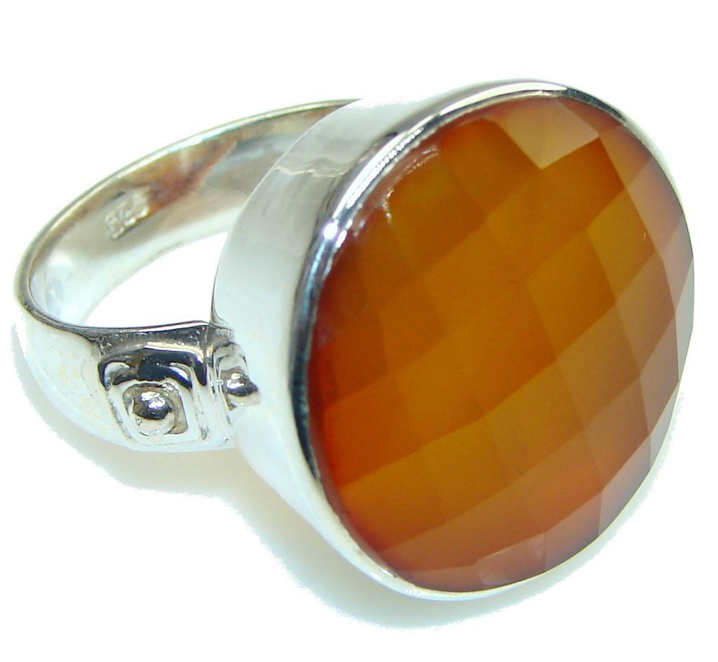 Big! Simple Orange Agate Sterling Silver Ring s. 11