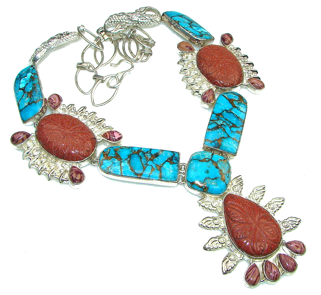 Aura Of Beauty! Red SunSitara Sterling Silver Necklace