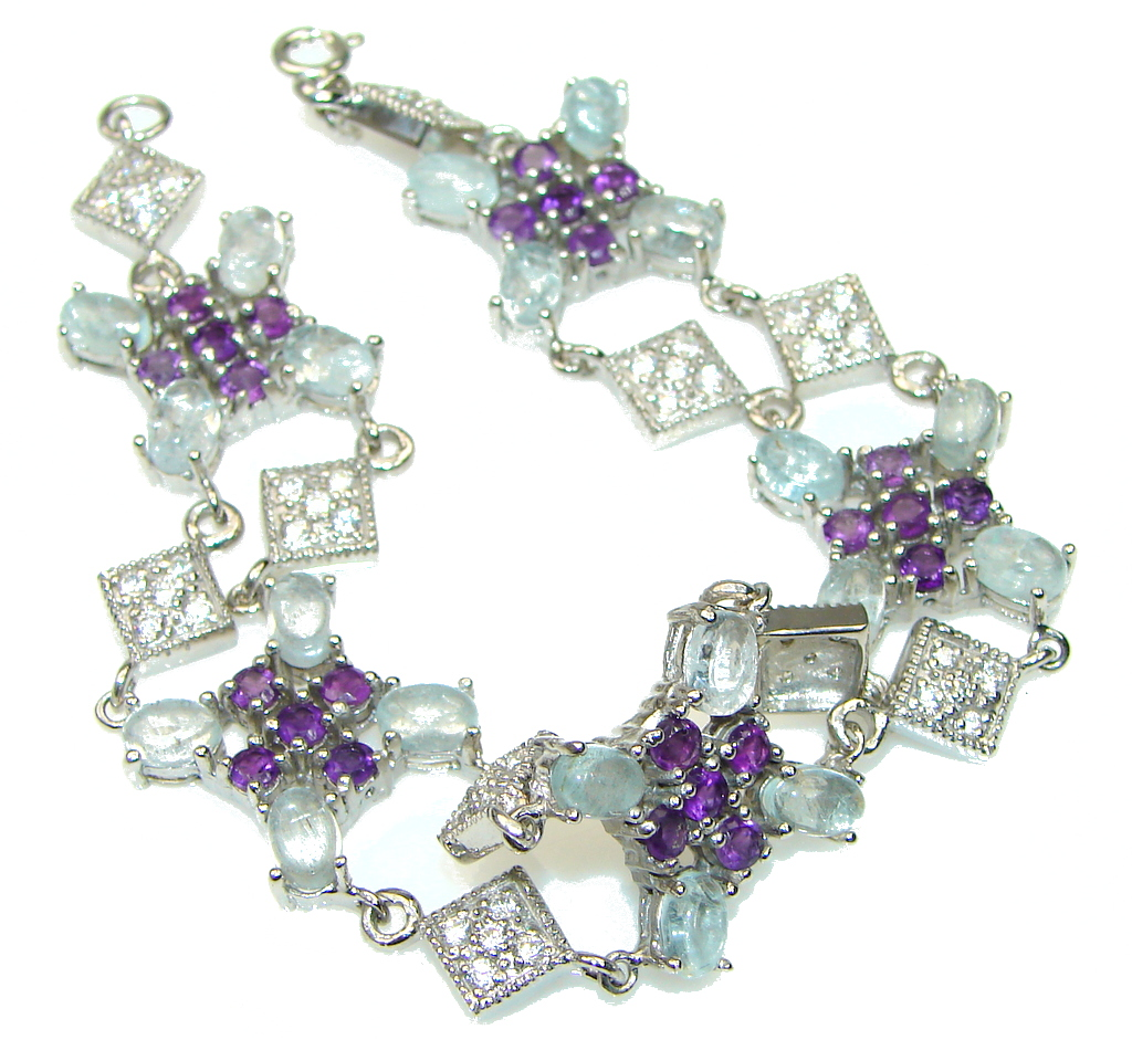 Protection For Them On Water! Natural Blue Aquamarine & Amethyst Sterling Silver Bracelet