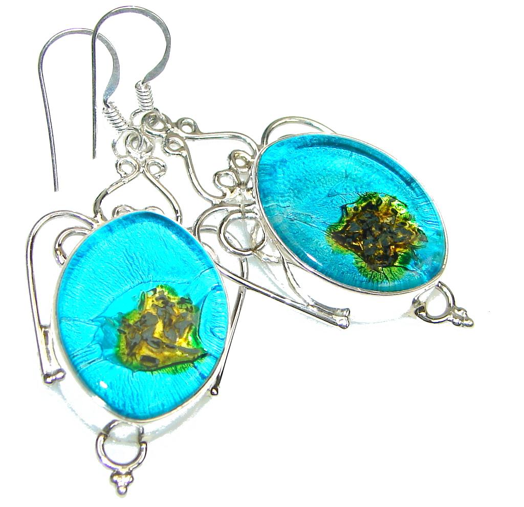Deep Ocean! Blue Dichroid Glass Sterling Silver earrings