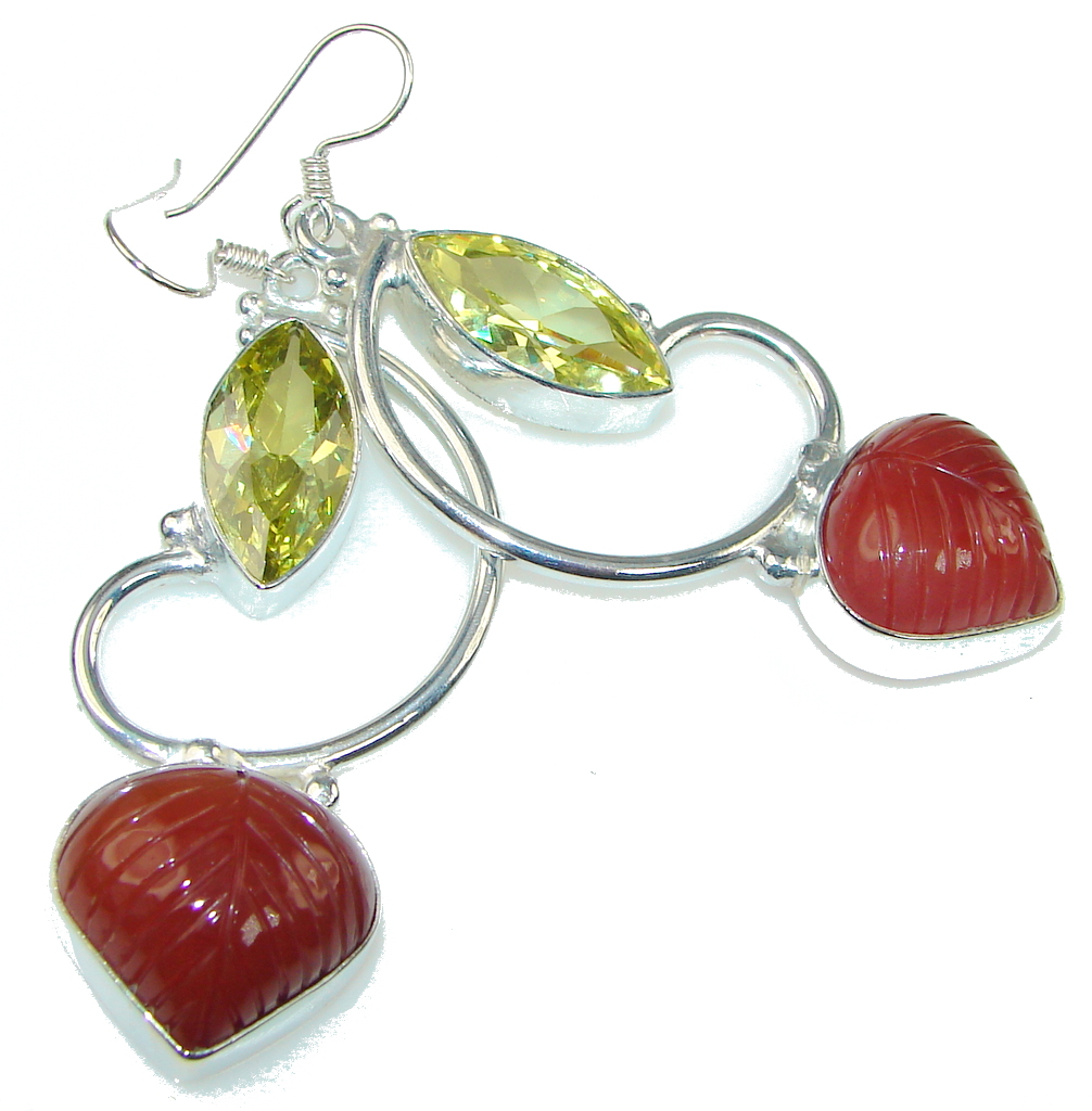 Big! Stylish Orange Carnelian Sterling Silver earrings