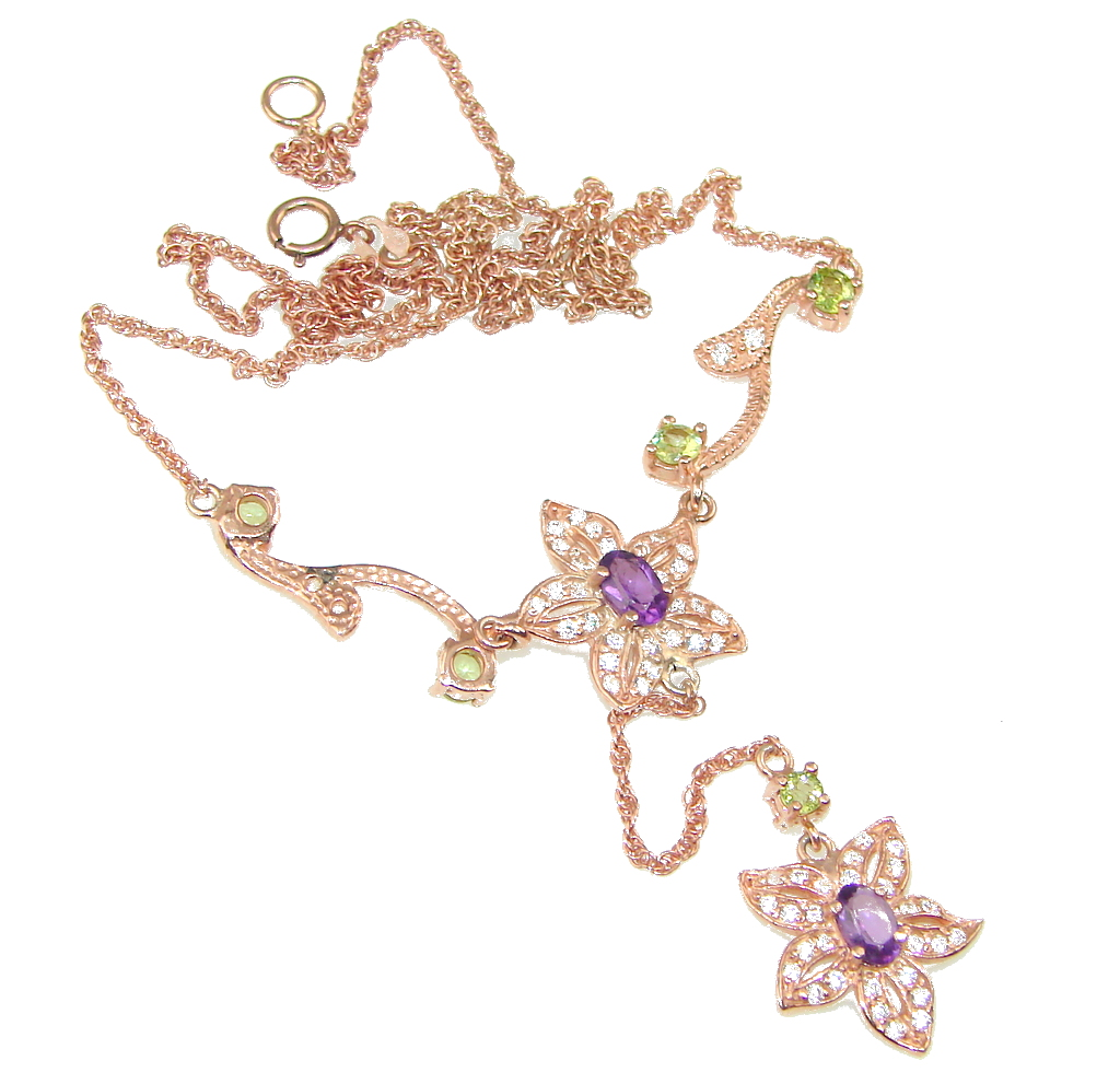 Exclusive! Purple Amethyst , Rose Gold Sterling Silver necklace
