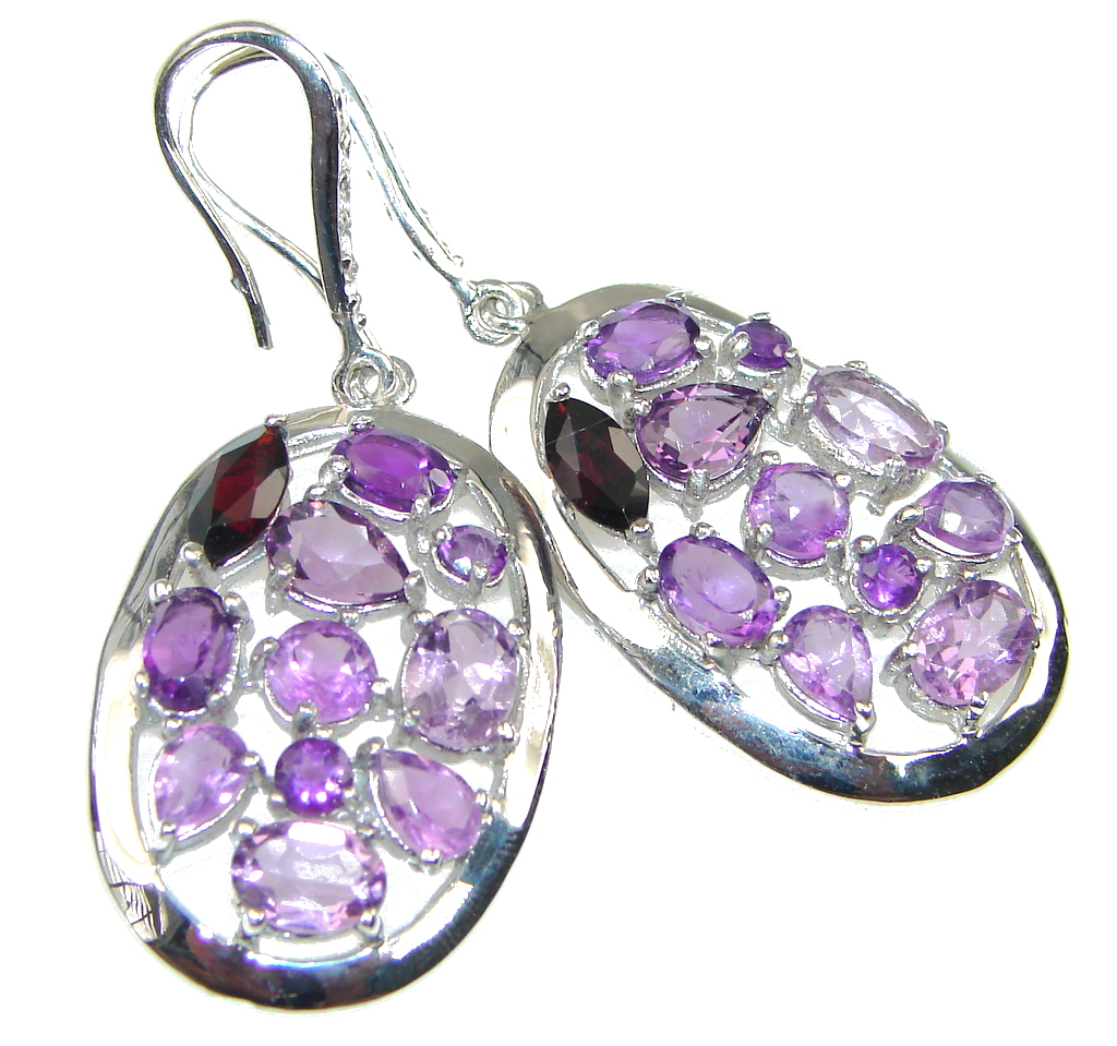 Big! Natural Purple Amethyst Sterling Silver earrings