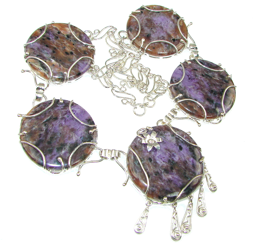 93 grams Cloud Of Desire Siberian Purple Charoite Sterling Silver Necklace