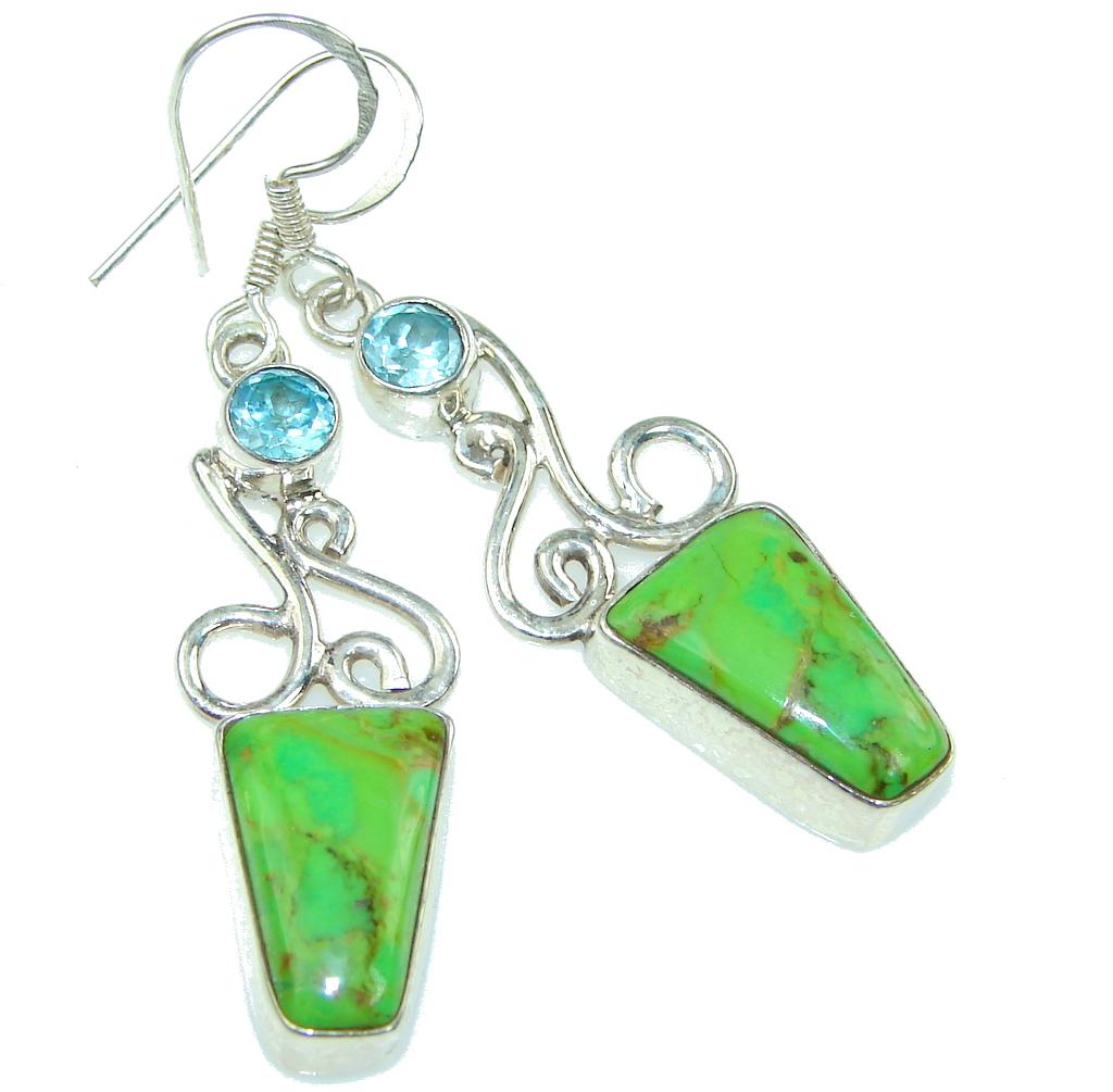 Fresh Green Turquoise, Swiss Blue Topaz Sterling Silver earrings